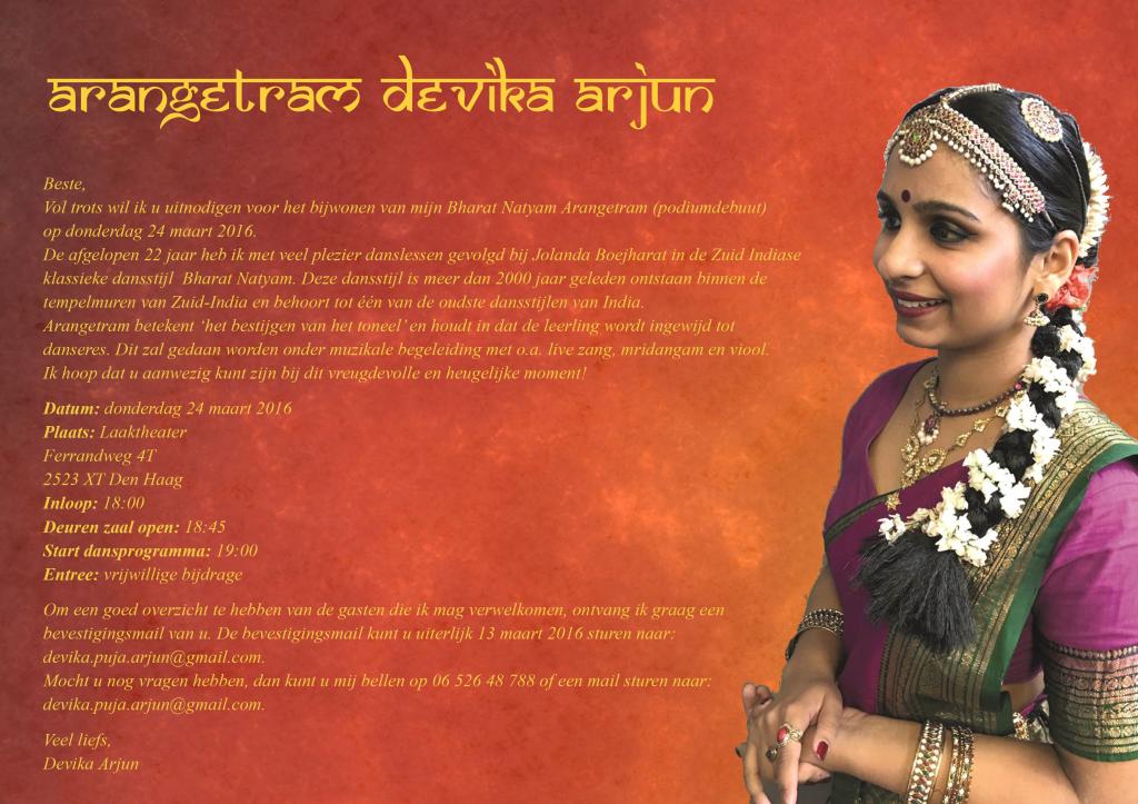 Uitnodiging Devika Arjun Arangetram
